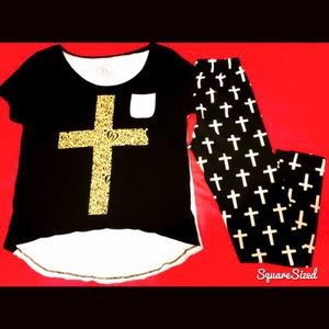Like New! 2-Piece Cross Outfit, Leggings & Tee